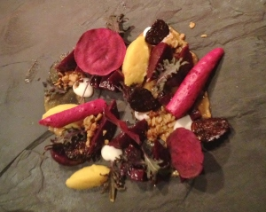 This was the special Farmer's Harvest beet salad we ran for a few days in early January--Beet chips, beet meringue, beet tartare, red kale.