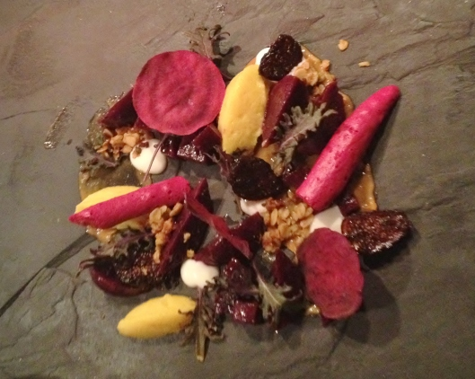 I can't wait to talk about Orzo. Working there with Chef Tommy and the boys was truly one of the best culinary experiences of my life, and I really, really miss that direct communication with the kitchen. This was the special Farmer's Harvest beet salad we ran for a few days in early January--Beet chips, beet meringue, beet tartare, red kale.