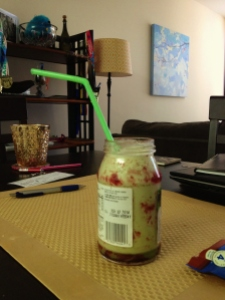 My Berry-Limeade Protein Green Smoothie. Partially served in an empty jam jar for extra flava. Filled it up twice.