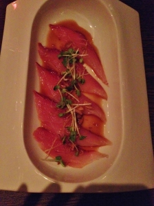 Hamachi Carpaccio with ponzu, ginger, watercress, cucumber